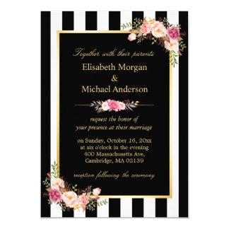 Elegant Black White Stripes Gold Floral Wedding Card