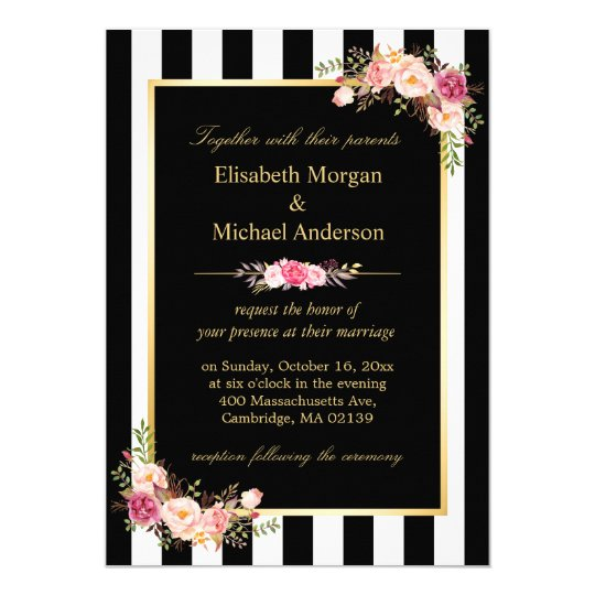 elegant black white stripes gold floral wedding invitation zazzle com