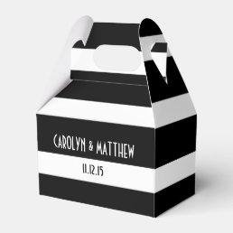 Elegant Black White Stripes Wedding Favor Box