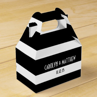 Elegant Black White Stripes Wedding Favor Box