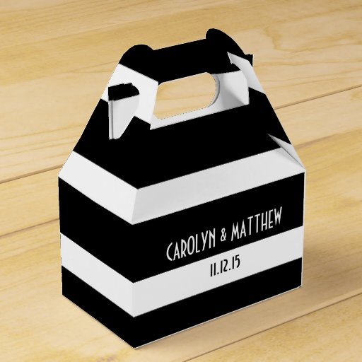 Wedding Favor Boxes White : Elegant black white stripes wedding party favor box zazzle