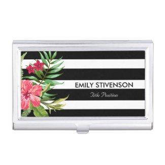 Elegant Black White Stripes With Flowers Business Card Holder