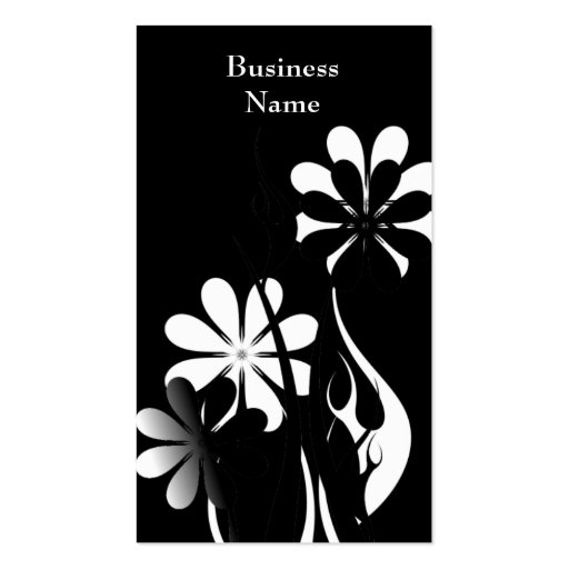 Elegant Black & White Style Flowers Double-Sided Standard Business Cards (Pack Of 100)