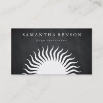 Elegant Black & white Sun Logo Yoga Business Card