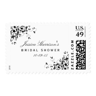 Elegant Black & White Swirls Bridal Shower Postage