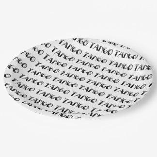 Elegant Black White Tango Paper Plate