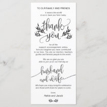 Elegant Black & White Thank You Place Setting Card