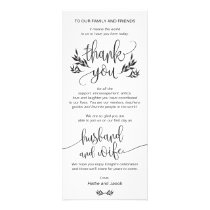 Elegant Black & White Thank You Place Setting Card