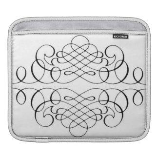 Elegant Black White Vintage Calligraphy Swirl iPad Sleeve