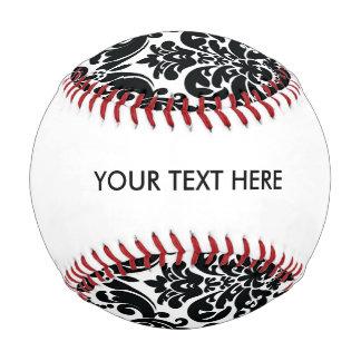 Elegant Black White Vintage Damask Pattern Baseball