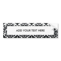 Elegant Black White Vintage Damask Pattern Bumper Sticker