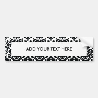 Elegant Black White Vintage Damask Pattern Car Bumper Sticker