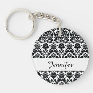 Elegant Black White Vintage Damask Pattern Double-Sided Round Acrylic Keychain