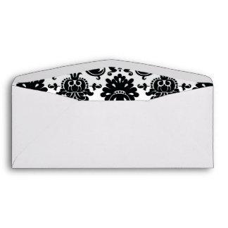Elegant Black White Vintage Damask Pattern Envelope