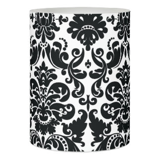 Elegant Black White Vintage Damask Pattern Flameless Candle