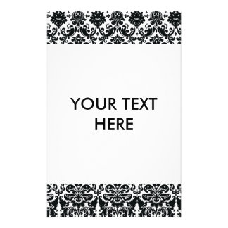 Elegant Black White Vintage Damask Pattern Flyer
