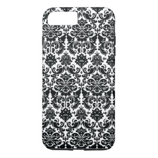 Elegant Black White Vintage Damask Pattern iPhone 7 Plus Case