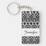 Elegant Black White Vintage Damask Pattern Acrylic Keychains