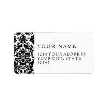 Elegant Black White Vintage Damask Pattern Label