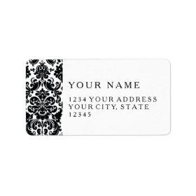 Elegant Black White Vintage Damask Pattern Personalized Address Labels
