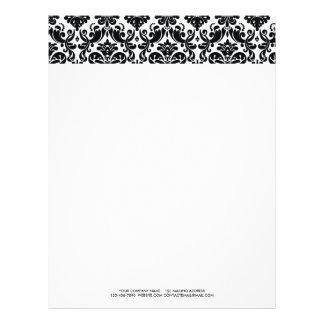 Elegant Black White Vintage Damask Pattern Letterhead Design