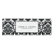 Elegant Black White Vintage Damask Pattern Name Tag