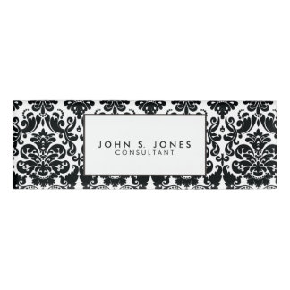 Elegant Black White Vintage Damask Pattern Name Tag