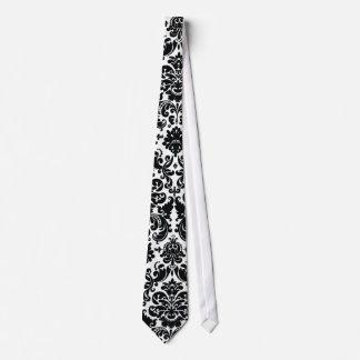 Elegant Black White Vintage Damask Pattern Neck Tie