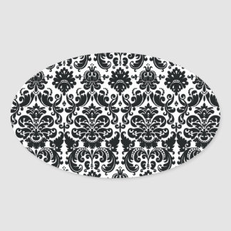 Elegant Black White Vintage Damask Pattern Oval Sticker