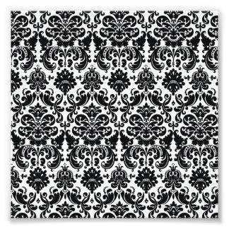 Elegant Black White Vintage Damask Pattern Photo Print
