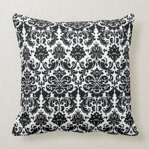 Elegant Black White Vintage Damask Pattern Pillows