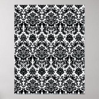 Elegant Black White Vintage Damask Pattern Poster