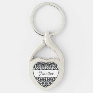 Elegant Black White Vintage Damask Pattern Silver-Colored Heart-Shaped Metal Keychain