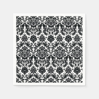 Elegant Black White Vintage Damask Pattern Disposable Napkin