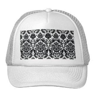 Elegant Black White Vintage Damask Pattern Trucker Hat