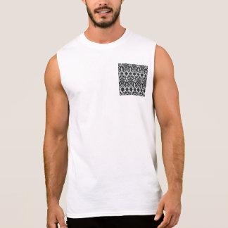 Elegant Black White Vintage Damask Pattern Sleeveless Shirt