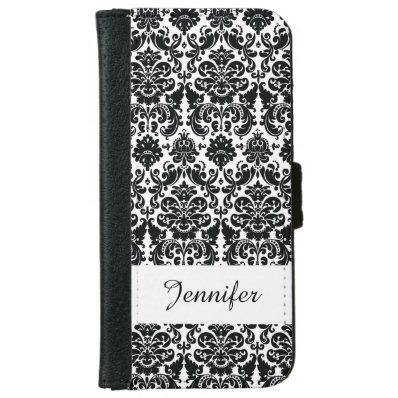 Elegant Black White Vintage Damask Pattern Wallet Phone Case For iPhone 6/6S