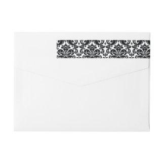 Elegant Black White Vintage Damask Pattern Wrap Around Label