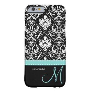 Elegant black & white vintage damask with monogram barely there iPhone 6 case