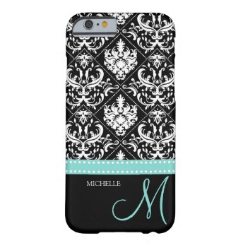Elegant black & white vintage damask with monogram iPhone 6 case