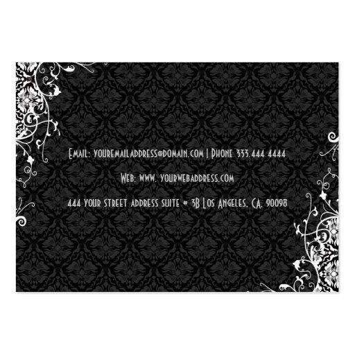 Elegant Black & White  Vintage Floral Damasks 2 Business Card Templates (back side)