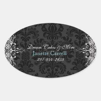 Elegant Black & White Vintage Floral Damasks 2 Oval Sticker