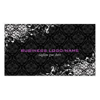 Elegant Black & White  Vintage Floral Damasks Double-Sided Standard Business Cards (Pack Of 100)
