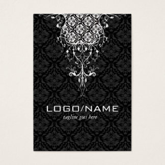 Elegant Black & White Vintage Floral Damasks Business Card