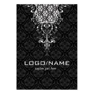 Elegant Black & White Vintage Floral Damasks Large Business Cards (Pack Of 100)