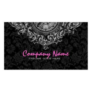 Elegant Black & White Vintage Floral Ornament 2 Double-Sided Standard Business Cards (Pack Of 100)