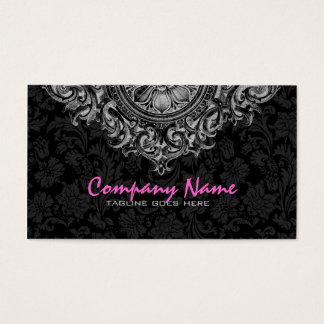 Elegant Black & White Vintage Floral Ornament 2 Business Card