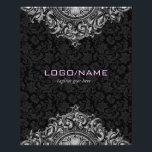 """Elegant Black &amp; White Vintage Floral Ornament Flyer<br><div class=""""desc"""">Elegant light gray tones vintage ornate ornament over black floral damasks.  Available on other products. Custom initials on front. This is a Template and it is fully customizable.</div>"""