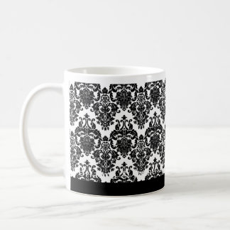 Elegant BLACK WHITE Wedding Damask Mug