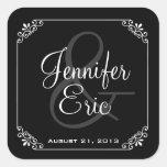 Elegant Black & White Wedding Favor Sticker